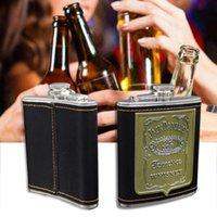 Hüftflaschen 7 Unze Whisky Flasche Alkohol Flasche Stahl Edelstahl PU Leder Patch Container A30