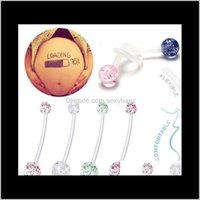 Çan Renkli Esnek Temizle Dangle Yüzükler Hamile Kadın Göbek Barlar Moda Belly Düğme Yüzük Piercing Seksi Vücut Takı 8FWFW LZ40V