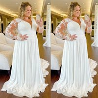 2021 Plus Size V-Neck Wedding Dresses Sheer Full Long Sleeves Lace Appliques A Line Boho dress Bridal Gowns Formal robe de mariee
