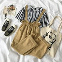 Two Piece Dress 2 Set Women Pants Striped T-shirt + Fashion Overall White Khaki Outfits For Casual Plus Size