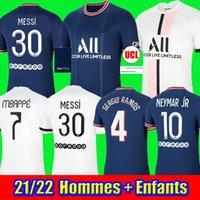 2021 2022 Fussball Trikots # 30 Lionel Messi 4 Sergio Ramos Mbappe di Maria Icardi Verratti Kimpembe Wijnaldum Custom 21 22 Home Away Männer Frau Kinder Enfants Football Shirt