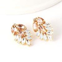 Gold White Opal Earrings Bridal Jewelry Crystal Cluster Blush Stud Earrings