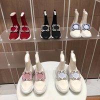 Stiefel Frauen Dick-Sohlen Daddy Schuhe Sneakers Winter-Plattform Erhöhte dünne Socken Boot Square Schnalle Strass Knöchel