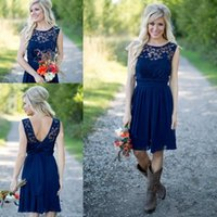 Cheap Country Bridesmaid Dresses 2021 For Weddings Illusion Neck Chiffon Lace Navy Blue Sashes Party Short Knee Length Maid of Honor Gowns
