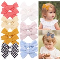 7 Colors Girl Hair Bows 3.6 inch Bow Simple Flowers Plaid Clothes Design Baby Girls Clippers Kids Accessory