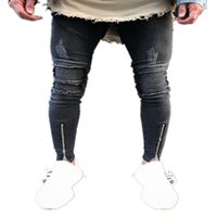 Black Mens Designer Jeans Pieghette Hole Hole Zipper Design Elastico Lavato Retro High Street Moda Denim Pants RIPPED Pantaloni da moto in difficoltà