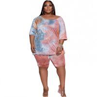 Plus Size Tracksuits Casual Short Women 2 Piece Set 5XL T Shirt Tops Knee Length Pant Suit Fashion Tie Dye Loose Lounge Outfits