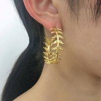 Semplice oro color foglia di foglia pianta grande cerchio orecchini cerchio orecchini da donna acciaio inox a forma di c-forma orecchino femmina gioielli hiphop