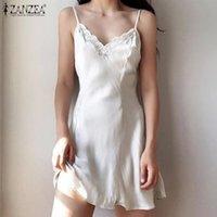 Vestidos casuais 2021 verão sexy v nightgown nightgown zanzea elegante lace up sleepwear moda sling sólido sono mulheres cetim mini vestido de casa