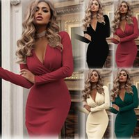 Casual DressesSexy Women Long Sleeve V-Neck Dress Ladies Solid Color Sheath Bodycon Gown Party Cocktail Club Dress Plus Size 2XL Clothes