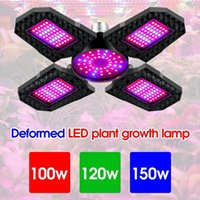 100W 120W 150W LED Plant Growth Lamp E27 Deformation Folding Grow Light 4 leaves Red Blue Spectrum Phytolamp