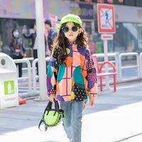 Ins Fashions Büyük Kızlar T-Shirt Baskı Çocuk Turn-down Yaka Sokak Giyer Bahar Çocuk Tops 1070 V2
