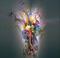 Рта взорванные стеклянные лампы шарики светодиодные арт-деко цветочные стены Sconces лампы гостиная украшения