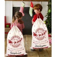 Exclusive Sales Christmas Santa Sack Deer Drawstring Canvas Santa Bag New Year Christmas Decorations for Home Stockings Gift Bag