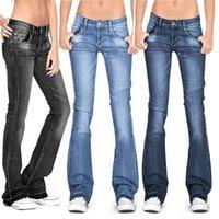 Women's Jeans Summer 2021 Black Flared Women Casual Vintage Skinny Low Waist Bell Bottom Y2k Denim Pants Woman Plus Size Trousers