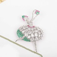 2022 New Top Quality Luxury Brand Pure 925 Sterling Silver Jewelry Lovely Ballet Girl Lucky Design Gemstone Fine Quaity Brooch