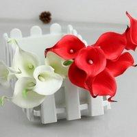 Fleurs décoratives Couronnes 6pcs Calla Lily Fleur artificielle Latex Real Touch Faux De Mariage Accueil Décor Coloré Bouquet de mariée