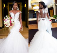 Plus Size Mermaid Wedding Dresses Bridal Gowns Lace Appliqued Off Shoulder Sleeveless Ruched Tulle Sweep Train Elegant Custom Made Robe De Mariee