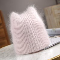 Winter lovely Knitted Hats Women Casual Soft Warm Angola Rabbit Fur Beanie hats for glris lady Bonnet Gorros