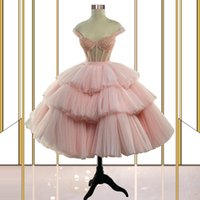 Off the Shoulder Pink Prom Dress Sequins Corset Top Short Evening Gowns Tutu Skirt Party Pageant Dresses