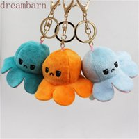 DHL Reversible Flip Octopus Keychain Metal Key Ring Plush Doll Toys Bag Animal Pendants Double-Sided Emotion Toy Cute Keyring Ornment