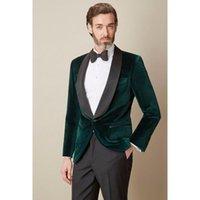 Men's Suits & Blazers Dark Green Velvet 2021 Men Suit Jacket Pants Bespoke Shawl Laple Wedding Prom Fashion Groom Tuxedos (Jacket+Pants)
