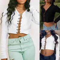 Autumn Pin Button Short Cardigan Long Sleeve V-neck Slim T-shirt Punk Streetwear Women's