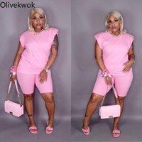 Kadın Eşofman OliveKwok 2021 Yaz Kadın Setleri Kolsuz V Yaka Moda Seksi Katı Eğlence İki Parçalı Suit Sokak Gece Kıyafetleri