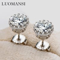 Stud Luomasnsi 1 CT 6.5MM Moissanite Super Flash Earrings S925 Sterling Silver 18K Gold Jewelry Passed Diamond Test