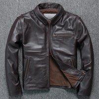 Soft Cowhide 2021 Marque Designer véritable Veste en cuir véritable Homme Haute Qualité Moto Vinatge Business Business Coffret Faux