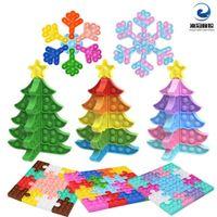 descompresión árbol de navidad copo de nieve empuje empuje punta de los juguetes juguetes bricolaje rompecabezas inquietando juguete nuevo año de San Valentín Decoraciones gratis DHL