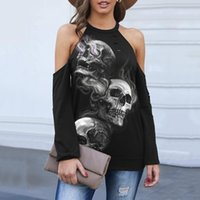 Women's Blouses & Shirts Sexy Off Shoulder Women Blouse Hollow Out Long Sleeve Shirt Tops Gothic Streetwear Halloween Skull Print Plus Size