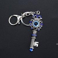 Único azul cristalino llavero joyería de buena calidad pavo malvado ojo aleación llavero llavero encanto regalos HWA6395