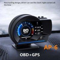 AP-6 HUD最新ヘッドアップディスプレイオートディスプレイOBD2 + GPSスマートカーHUDゲージデジタル走行距離計セキュリティアラームWOROIL TEMP RPM