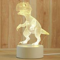 Creative 3D Night Lights Acrylic Desktop Nightlight Boys and Girls Holiday Gift Decorative Lamps Bedroom Bedside Table Lamp dinosaur