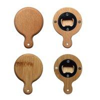 Creative Bamboo Wooden Bottle Opener With Handle Coaster Fridge Magnet Decoration Beer Bottle Opener Free Engrave Logo 4611 Q2