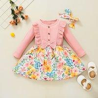 Girls Rib Sukienki z kwiatem Drukuj Spadek 2021 Kids Boutique Odzież Koreański 1-5t Dzieci Długie Rękawy Bawełniana Dress Post On Ins