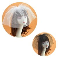 Hair Accessories Womens Bridal Wedding Fascinator Veil Hat Solid Color Two Layers Fishnet Mesh Clips Pography Props Cocktail Headwear Bla