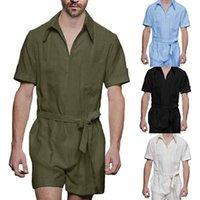 Men's Tracksuits 2021 Summer Solid Color Jumpsuit Linen Turndown Collar Belt Mens Clothing Shorts