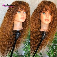 Lace Wigs Honey Blonde Colored Front Human Hair With Bangs Brazilian Remy Curly 4x4 Closure For Women