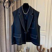 Frauen Jacken Kusahiki Korean Patchwork Taschen Frau Mantel Kausal ärmellose gekerbte Kragenjacke Kurzmode Elegante Outwear 2021 6z03