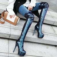 Boots Snake Print Patent Leather Over The Knee Woman Autumn Winter Fashion Platform Ultra-high Heel Sexy Thigh High Female