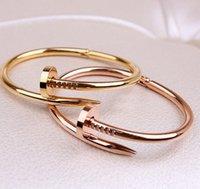 Con caja de oro plata titanio acero pulsera de uñas inlay diamante tornillo nail brazalete pulsera mujeres hombres amante pareja regalo joyería