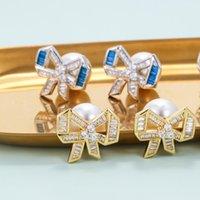 تصميم لطيف اللؤلؤ الأذن التوصيل bowknot أقراط مزيج اللون الزركون aretes حساسة النساء مجوهرات الذهب والفضة مطلي