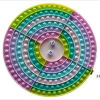 2021 Новая вечеринка FABLE BUST Размер Hidget Toy Square Эллиптическая яичника Доска с Dice Push Bubble Sensory Hwe10292