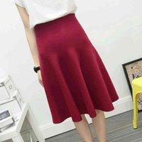 Women's Shorts Saia midi de malha com cintura alta, peça única, saia plissada, outono e inverno Y70V