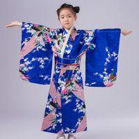 Ethnic Clothing Traditional Girl Yukata Kimono Gown Japanese Style Stage Performance Dress Print Flower Vingae Haori Robe Asian Cosplay