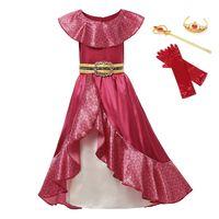Vestido de niña para Elena Princess Elena War Cosplay Sets Children Ruffles Sin mangas Red Maxi Frocks Fancy Party Ropa 3-12T T200709