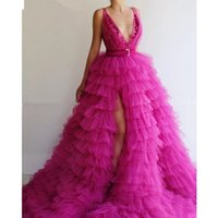 Fashion High Low Side Split Prom Dresses Deep V Neck Backless Ruffles Tier Tulle Skirt Pageant Dress Sweep Train Evening Party Gowns