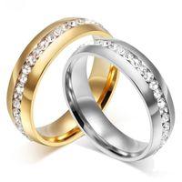 Moda Personalidade Única Row Anel de Diamante para Homens e Mulheres Titânio Aço 18K Acessórios Banhados Ouro Anéis de Casamento